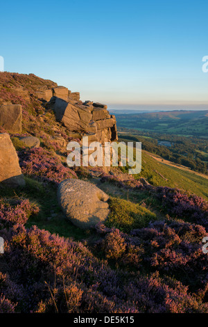 Heather surrounds a millstone on Bamford Edge with the village of Bamford below. Peak District, Derbyshire, England - Stock Photo