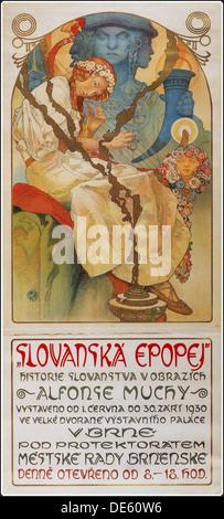 Poster for the exhibition The Slav Epic (Slovanská epopej), 1928. Artist: Mucha, Alfons Marie (1860-1939) - Stock Photo