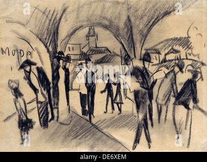 Scene Under the Arcades in Thun, 1913. Artist: Macke, August (1887-1914) - Stock Photo