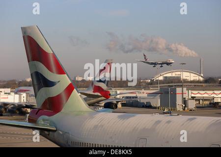London, United Kingdom, Heckfluegel of machinery British Airways - Stock Photo