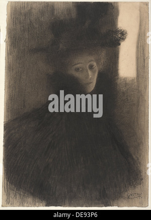 Portrait of a Lady with Cape and Hat, 1897-1898. Artist: Klimt, Gustav (1862-1918) - Stock Photo