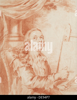 Self-Portrait. Artist: Roslin, Alexander (1718-1793) - Stock Photo