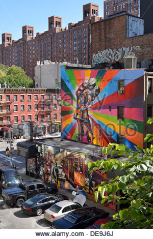 Mural Paintings, 10th Avenue, West 25th Street, Manhattan, New York City, New York, USA - Stock Photo