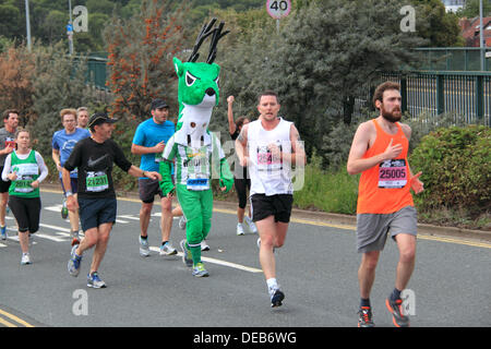 25th Bristol Half Marathon. Sunday 15th September 2013. Deer fancy dress runner. Up to 20,000 participants took - Stock Photo