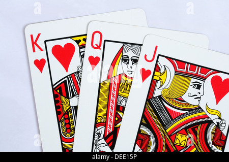 Traditional playing cards, Jack, Queen and King of Hearts. - Stock Photo