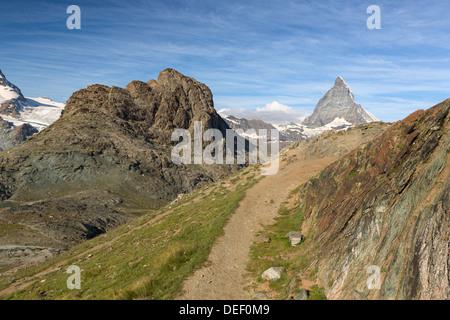 Trail at Riffelhorn with Matterhorn, Zermatt, Alps, Switzerland - Stock Photo
