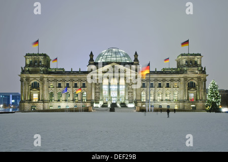 bundestag (reichstag) in winter at night with christmas tree - Stock Photo