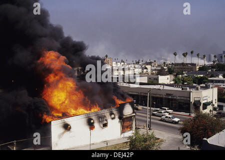 Scene from Los Angeles Riots, 1992. California. USA - Stock Photo