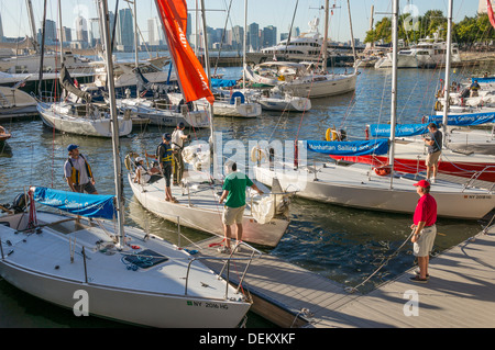 Manhattan Sailing School in North Cove in Battery Park City in New York City - Stock Photo