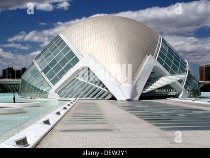 L'Hemisfèric, City of Arts and Sciences, Valencia, Spain, designed by architects Santiago Calatrava and Félix Candela - Stock Photo