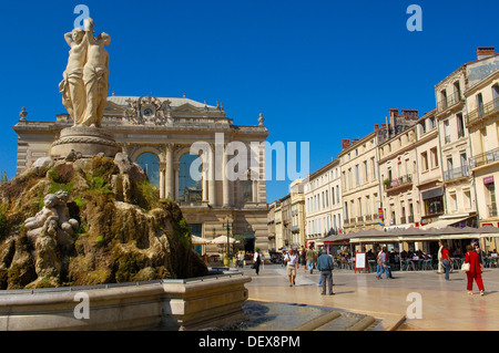 The Three Graces fountain at Place de la Comedie, Montpellier, Herault, Languedoc-Roussillon, France - Stock Photo