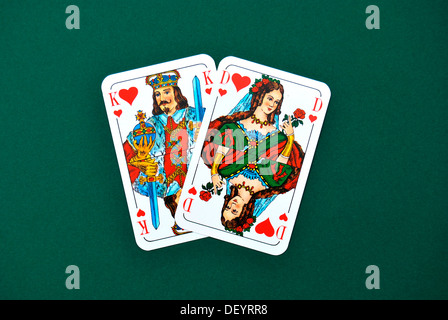 Playing cards, King and Queen of Hearts, pair - Stock Photo