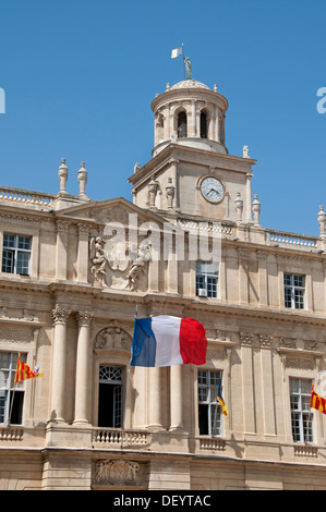 Town Hall and Cathedral of St Trophimus 12th Century Arles Place de la Republique France Provence Bouches du Rhone - Stock Photo
