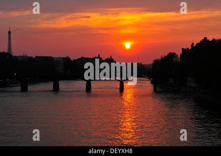 The Pont des Arts at sunset, Paris, Ile-de-France, France - Stock Photo