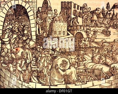 Biblical scene, Old Testament, Book of Esra, Exodus of the Jews from Babylonian Captivity, woodcut by Jost Amman - Stock Photo