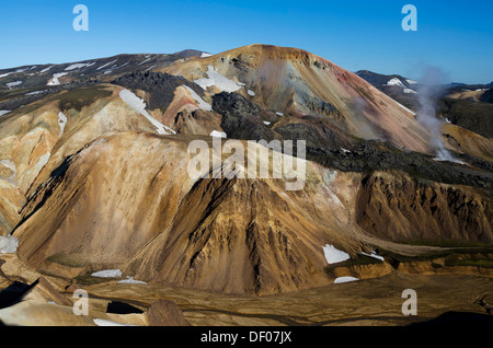 View from the Bláhnúkur volcano to Brennisteinsalda volcano and the Laugahraun lava field, rhyolite mountains, Landmannalaugar - Stock Photo