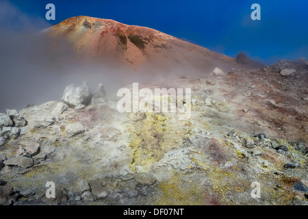 Sulphur field or spring, Brennisteinsalda volcano with the Laugahraun lava field, high-temperature area, rhyolite - Stock Photo