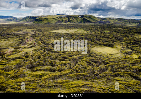 Aerial view, moss-covered lava field, Craters of Laki or Lakagígar, Icelandic Highlands, Southern Iceland, Suðurland, - Stock Photo