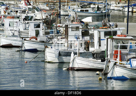 Boats in Cala Ratjada´s harbour. Majorca. Balearic Islands. Spain - Stock Photo