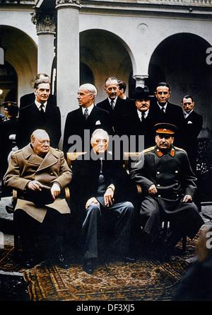Winston Churchill, Joseph Stalin & Franklin Roosevelt at the Yalta Conference, 1945 - Stock Photo