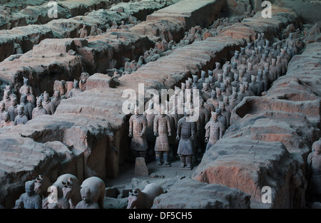 Terra Cotta Warriors,one of the wonders of the world,in Xi'an of China - Stock Photo