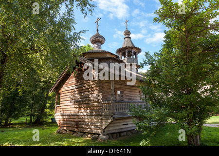 Old wooden orthodox church in Novgorod, Russia. - Stock Photo