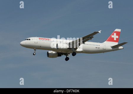 Swiss Airbus A320-200 on final approach - Stock Photo