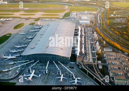 Heathrow airport aerial view, London, UK, England - Stock Photo