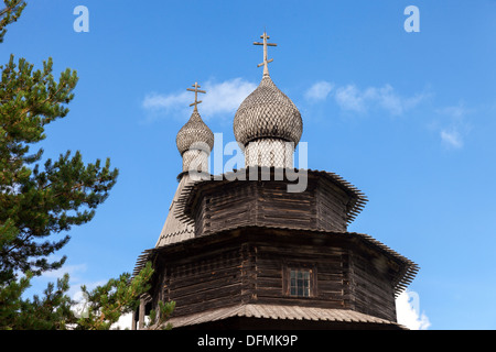 Old wooden orthodox church in Novgorod, Russia - Stock Photo