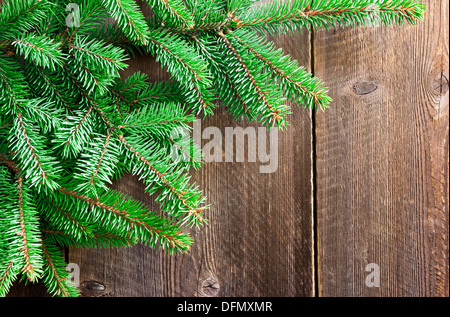 christmas tree branches on wooden background - Stock Photo