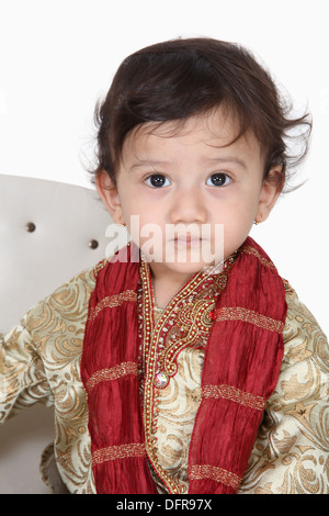 4 year old indian boy in traditional attire - Stock Photo