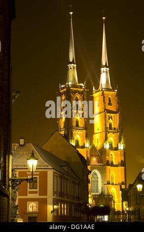 Wrocaw, Poland, Ostrow Tumski, Cathedral Island, Tumski bridge, cathedral, Katedra sw Jana Chrzciciela, Cathedral - Stock Photo