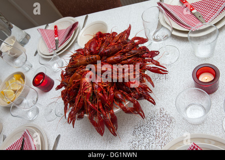 Tray full of boiled red crayfish placed in the middle of the table. - Stock Photo