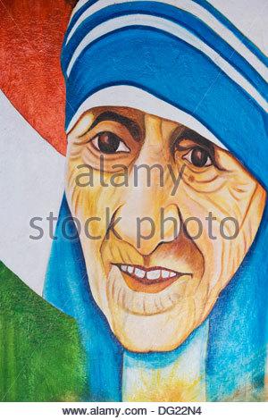 Mother Teresa wall mural. India - Stockfoto