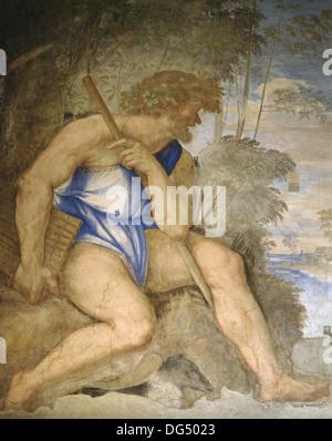 Baldassare Peruzzi (1481-1536). Polyphemus. Cyclope. Fresco. Villa Farnesina. Renaissance. Rome. Italy. - Stock Photo