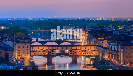 The Ponte Vecchio bridge over the Arno river in Florence, Italy. Taken from Piazzale Michelangelo - Stock Photo