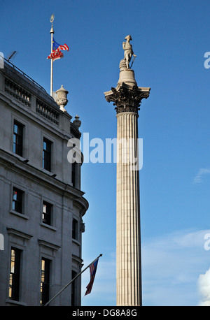 Nelson's Column Trafalgar Square Admiral Horatio Nelson Battle of Trafalgar in 1805 - Stock Photo