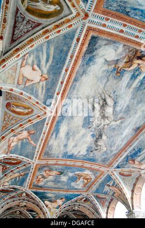 Italy, Trentino Alto Adige, Trento, Buonconsiglio Castle, Fresco at the Loggia del Romanino - Stock Photo