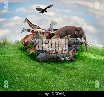 Wild Animals And Birds Collage - Stock Photo
