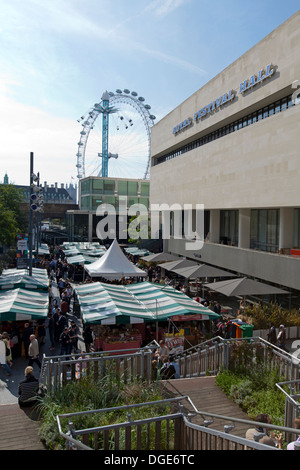 Real Food Market behind the Royal Festival Hall and the London Eye, Southbank Centre London, UK. - Stock Photo
