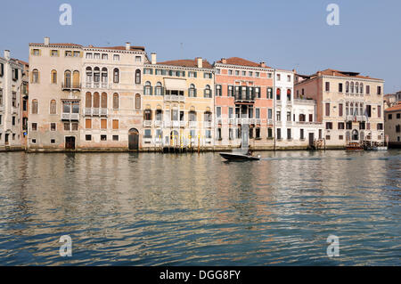 Motor boat on the Grand Canal, Canal Grande, Palazzo Barbarigo, Palazzo Zulian Priuli, Palazzo Ruoda-Boldù - Stock Photo