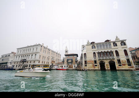 Motor boat on the Grand Canal, Canal Grande, Palazzo Grassi, Palazzo Malipiero, San Marco quarter, Venice, Venezia, - Stock Photo