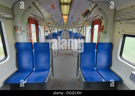 Journey in a Class 423 S-Bahn train carriage, Sindelfingen, Baden-Wuerttemberg - Stock Photo