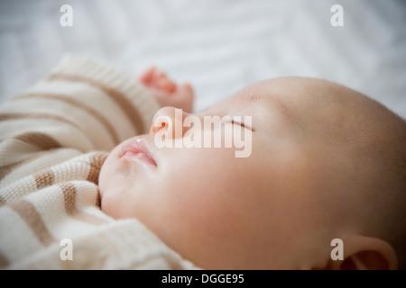 Baby boy sleeping, close up - Stock Photo