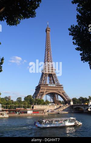 Paris France Europe French Seine River Pont d'Iéna Jena Bridge Eiffel Tower Bateau Mouche cruise boat Left Bank - Stock Photo
