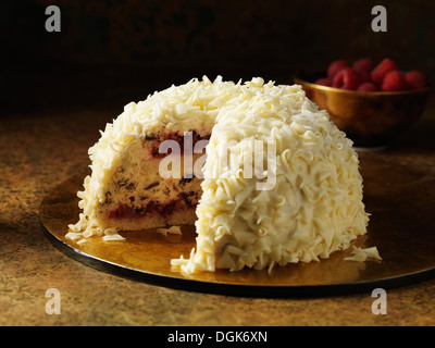 Snow bombe christmas dessert with white chocolate decoration - Stock Photo