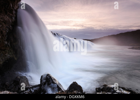 A view of the Faxifoss waterfall in southern Iceland. - Stock Photo