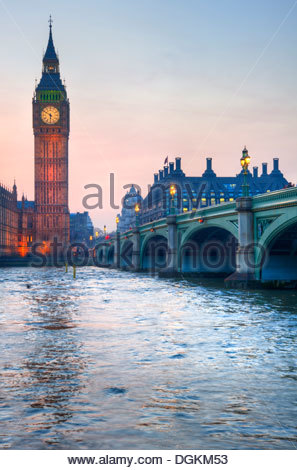 Big Ben and Westminster Bridge during a Winter sunset. - Stock Photo
