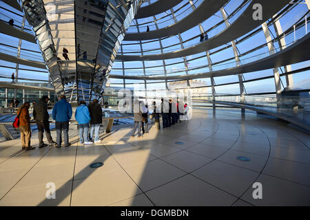Interior with the mirrored central column of the dome of the Reichstag building, architect Sir Norman Foster, Berlin - Stock Photo