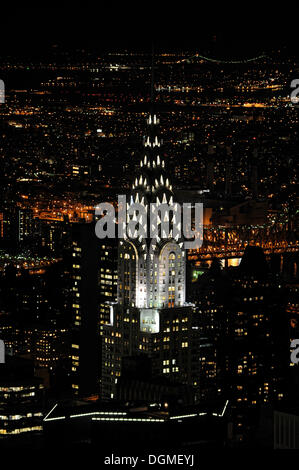 Chrysler Building as seen from the Empire State Building at night, Manhattan, New York City, New York, USA, North - Stock Photo